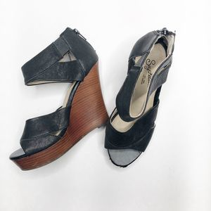 SEYCHELLES Black Ankle Strap Wedges